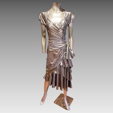 Vtg signed 80's Casadei New Wave Avant Garde silver lame' draped dress