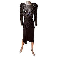 Vtg signed  80's Casadei beaded draped  cocktail silk chiffon dress