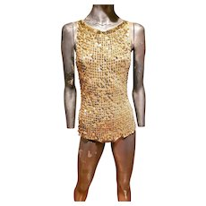 Vtg Crochet Golden sweater set with metal gold danglers