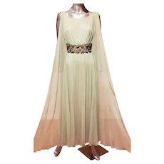 Vtg 1950 Suzy Perette mint green beaded goddess maxi dress