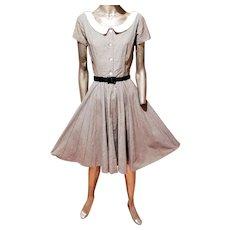 Vtg Jonathan Logan Black/White check full sweep dress w/belt