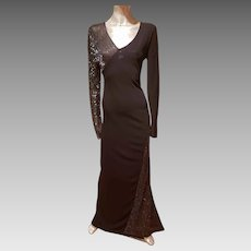 Vtg HALSTON 1970's formal beaded bias gown small side train
