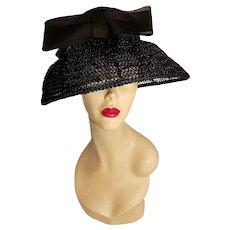 Vtg 1940's Mlle. Arlette New York straw hat beehive style w/net wide brim