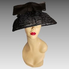 Vtg 1940's Mlle. Arlette New York straw hat beehive style w/net wide brim