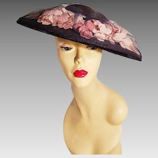 Genuine Vintage Milan wide brim Straw hat Millinery flowers tulle & velour ribbons