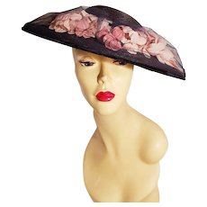 Genuine Vintage Milan wide brim Straw hat Millinery flowers tulle & velour ribbons