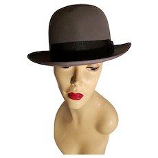 Vtg Stetson 3X Beaver Quality  Fedora Hat  Mode Edge size 7 w/Trolley cord tie Grey /Black ribbon