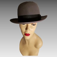Vtg Stetson 3X Beaver Quality  Fedora Hat  Mode Edge size 7 w/Trolley cord tie Grey /Black ribbon