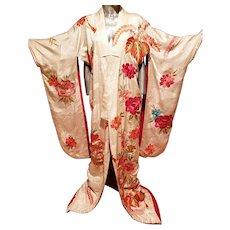 Vtg 1930's Japanese Silk Embroidered Uchiakke Wedding Kimono