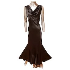 Vtg 1920 Carol Lombard formal bias silk Peau de soie gown