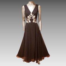 Vtg Mike Benet  70th Chiffon embellished maxi fluid dress