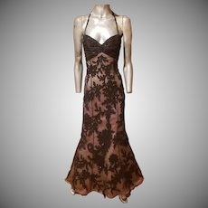 Vtg Bill Blass Couture silk beaded Soutache gown Guipure lace