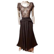 Vtg 1930's Crepe & Lace Balroom dance gown full skirt Illusion Bodice
