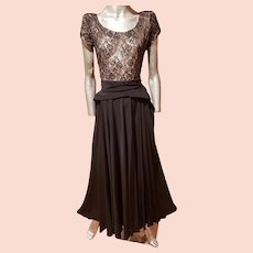 Vtg 1930's Crepe & Lace Balroom dance gown full skirt Illusion Bodice