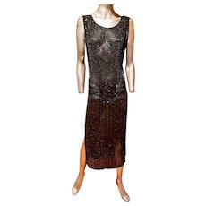 Antique 1918 Flapper must see Beaded onyx dress Art Deco Style