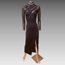 Vtg Cache' Rhinestone embellished mesh maxi dress side slit