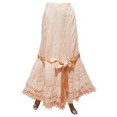 Edwardian Lawn Petticoat cotton Lace ribbon bow