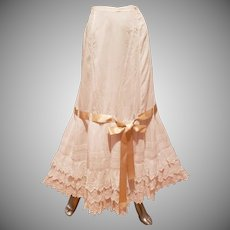 Edwardian Lawn Petticoat cotton Lace ribbon bow