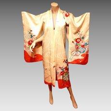 Vtg Japanese brocade gold embroidered Robe Kimono w/belt