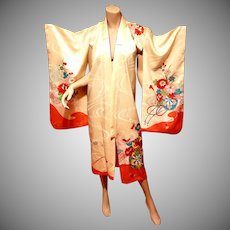 Vtg Japanese brocade gold embroidered Robe Kimono w/belt