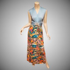 Vtg 1970's Jeweled maxi Mod gown Jersey multi hobo chic