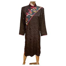 Vtg silk Jacquard embroidered peony shift macao dress embroidered