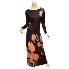 Vtg 1970's Frankie Welch Maxi Boho Chic Dress Floral print France import