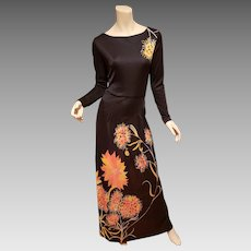 Vtg 1970's Frankie Welch Maxi Boho Chic Dress Floral print France import