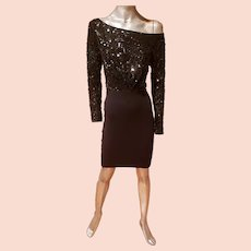 Vtg Donna karan Retro knit wiggle sequins dress