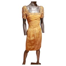 Vtg Canary Embellished Toga ruched organza dress