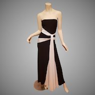 Vtg Strapless mermaid Trumpet Maxi dress black/white color block waterfall
