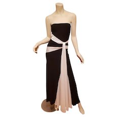 Vtg Strapless mermaid Trumpet Maxi dress black/white color block waterfall