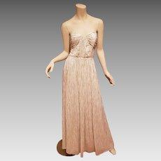 Vtg Erin Metallic strapless drizzle grecian silk gown  $550