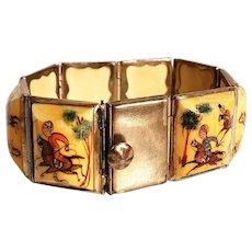 Vtg Persian silver Panel bracelet hand painted horses
