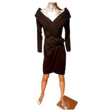 Vtg Cache' crepe off shoulder dress pleats & wide Belt