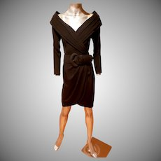 Vtg Cache' crepe off shoulder dress pleats & wide Belt