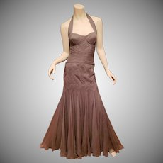Vtg Temperley London Couture Grey Halter silk gown honey comb weave.