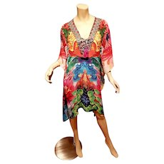 Multi Colors chiffon Kaftan dress beaded with tassels abstract design