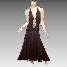 Vtg Cache' Ruched halter gown rhinestone front embellished