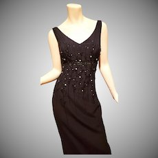 Vtg SouTache embellished crepe gown with crystal rhinestones