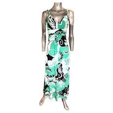Vtg Bisou Bisou Paris boho chic maxi dress swirl design emerald green