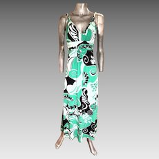 Vtg Bisou Bisou Paris boho chic maxi dress swirl design emerald green