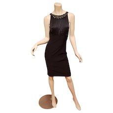 Vtg Silk embellished black wiggle cocktail  dress