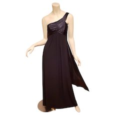 Vtg one shoulder Grecian ruched maxi dress with cascade back