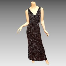 Vtg Hollywood Regency doing 70's silk bias onyx hand beaded maxi gown
