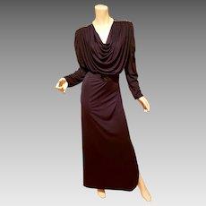 Vtg Oscar de La Renta for Swirl Caftan grecian draped Maxi demi Couture dress Belt Rhinestones