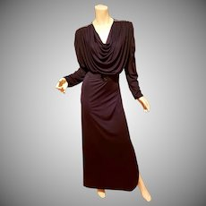 Vtg Oscar de La Renta for Swirl Caftan grecian draped Maxi demi Couture dress Belt Rhinestones