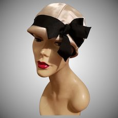 "Vtg 1950's Lilly Dache ""Dachettes"" Cloche satin Hat Grosgrain ribbon and bow"