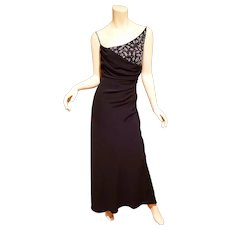 Vtg Draped beaded Designer Grecian gown maxi