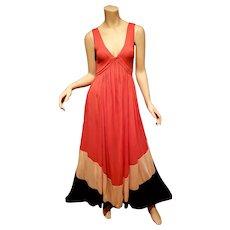 Vtg Diane von Furslenbrg kiwana color block maxi dress silk blend